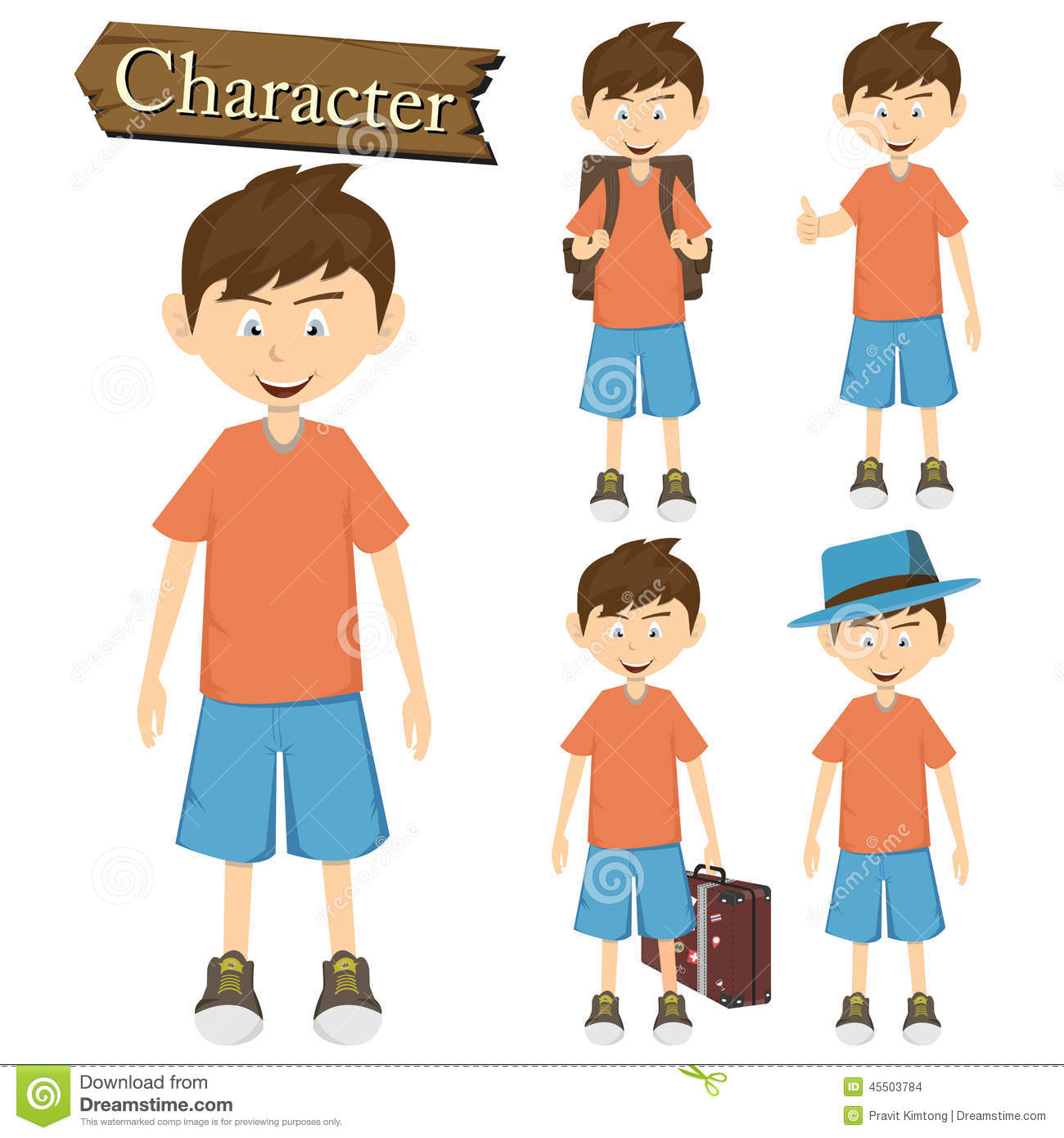 Boy Character Set Vector Illustration Stock Vector Image
