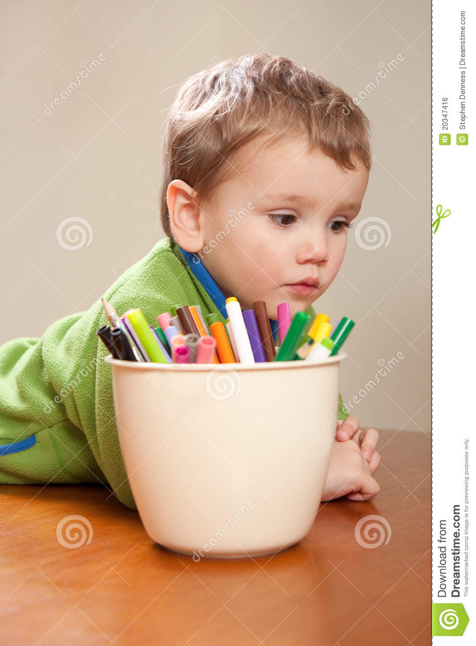 Boy Child With Kids Colored Drawing Pens Stock Photo ...