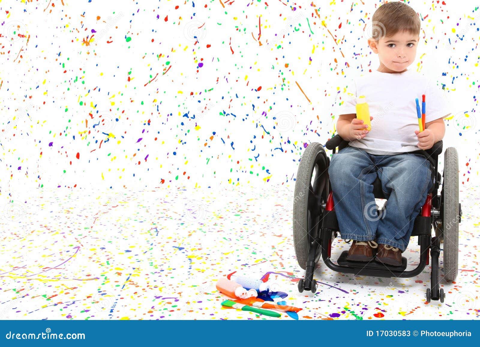 Boy Child Painting Wheelchair