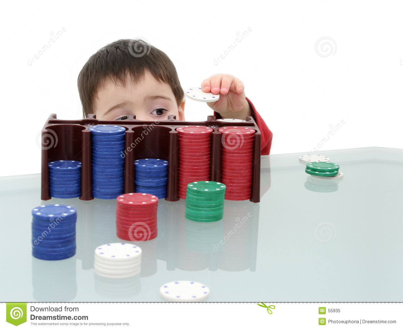 Boy Child Playing with Poker Chips