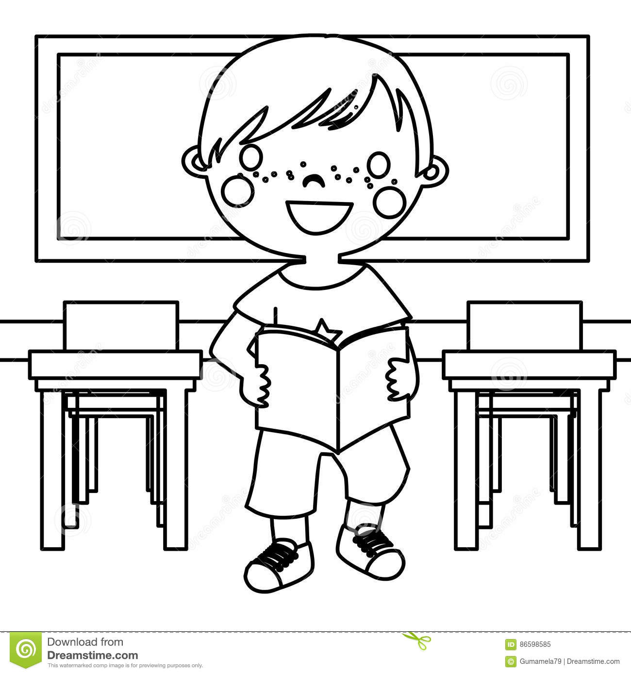 Boy In Classroom Coloring Page Stock Illustration Illustration Of