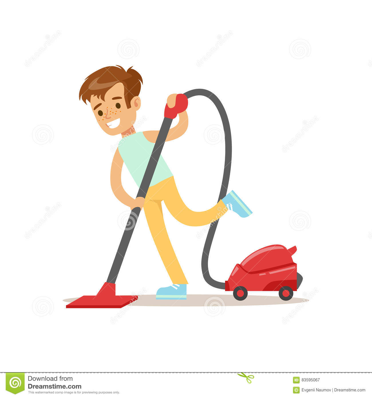 Boy Cleaning The Floor With Vacuum Cleaner Smiling Cartoon