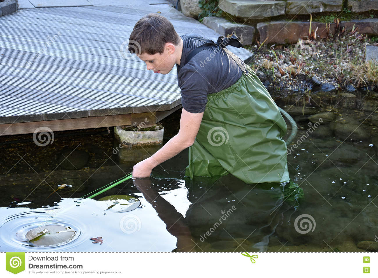 Boy Cleaning Garden Pond Stock Photo Image 79713200