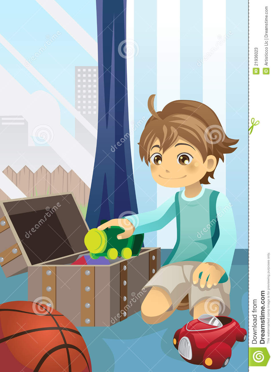 Boy Cleaning Up His Toys Stock Photos Image 21936023