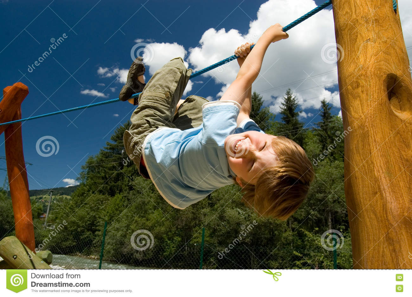Boy on a climbing rope