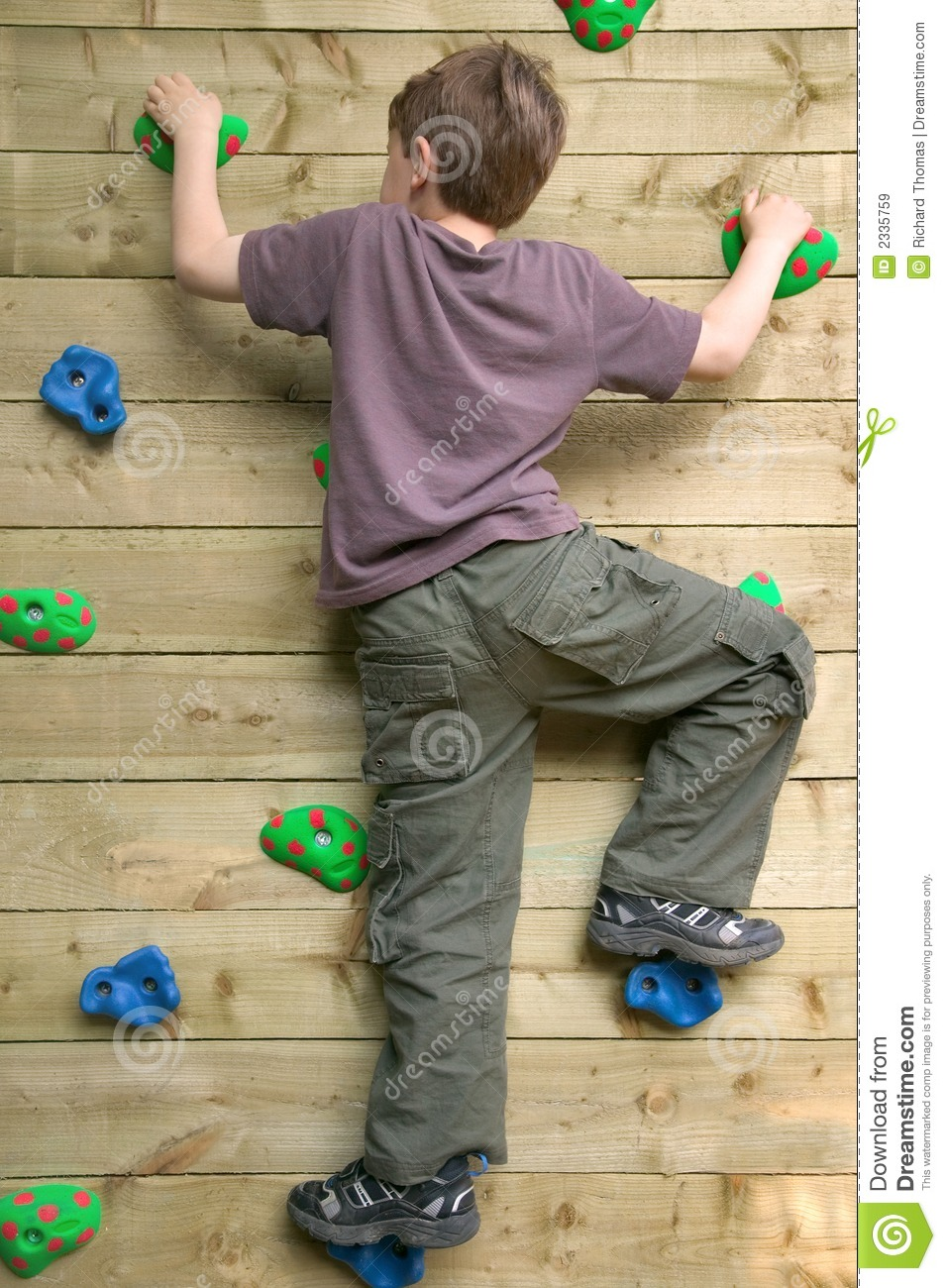 Boy On A Climbing Wall Stock Image Image Of Home Outdoor