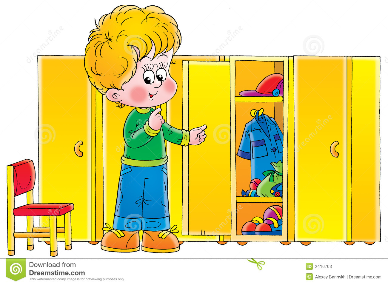 Boy In Cloakroom Stock Photos Image 2410703