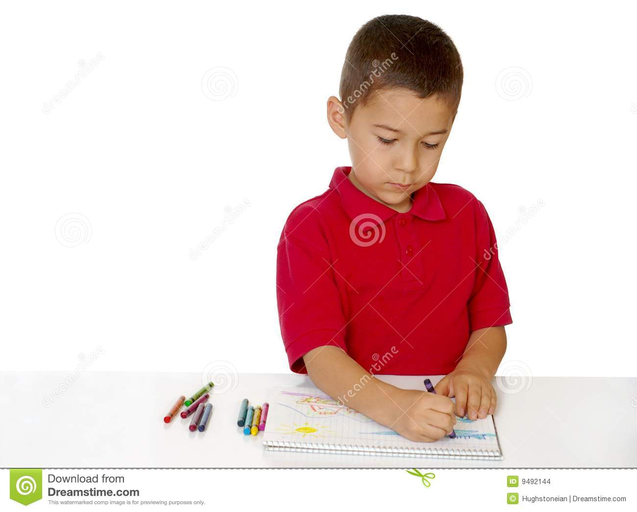 Royalty Free Stock Photo Download Boy Coloring With Crayons