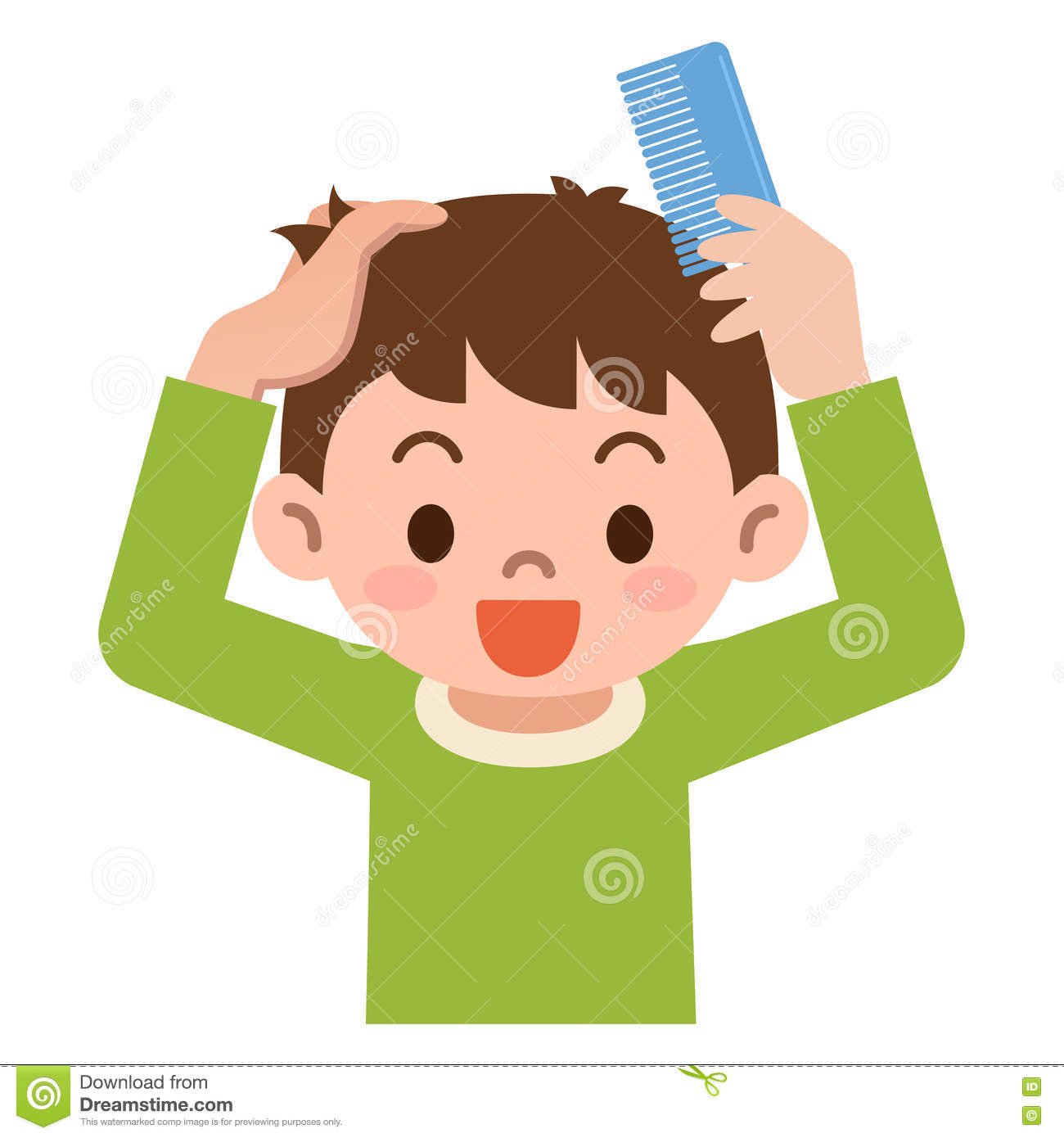 Boy Comb The Hair With A Comb Stock Vector Illustration Of Young