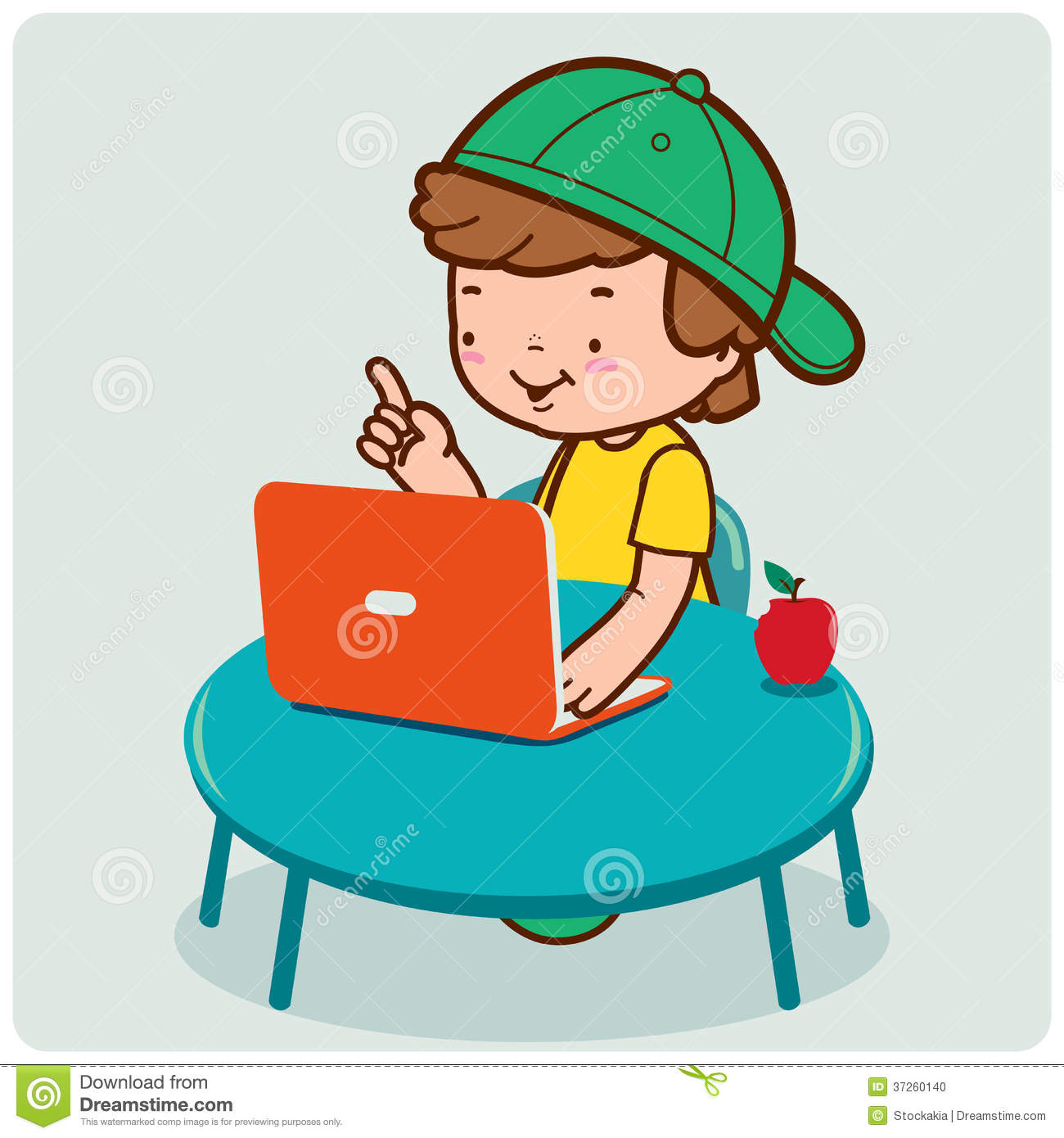Boy using the computer stock vector. Illustration of table ...