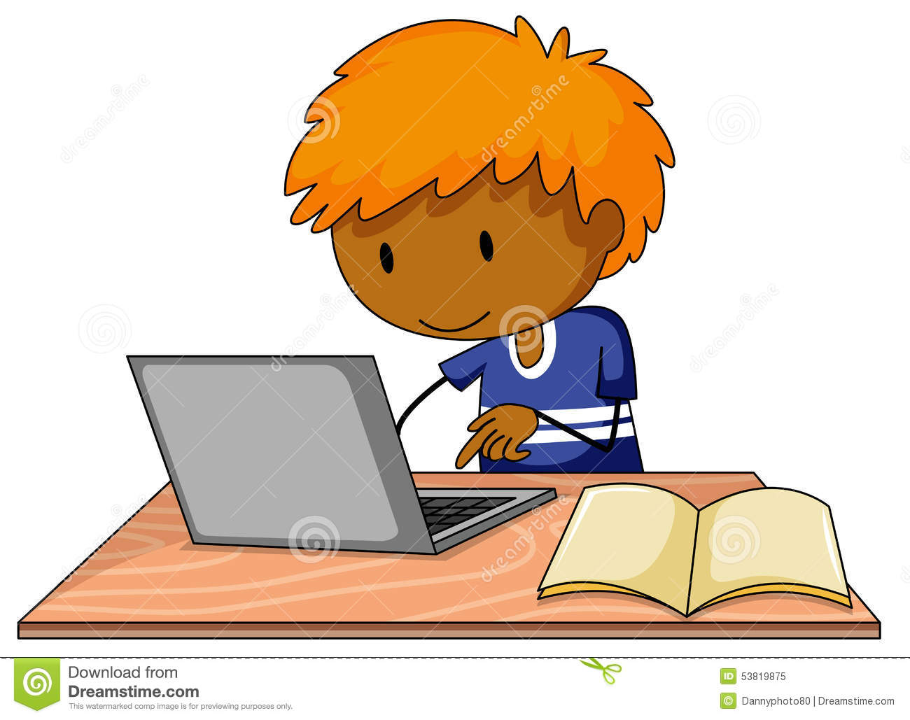 boy and computer stock vector   image 53819875