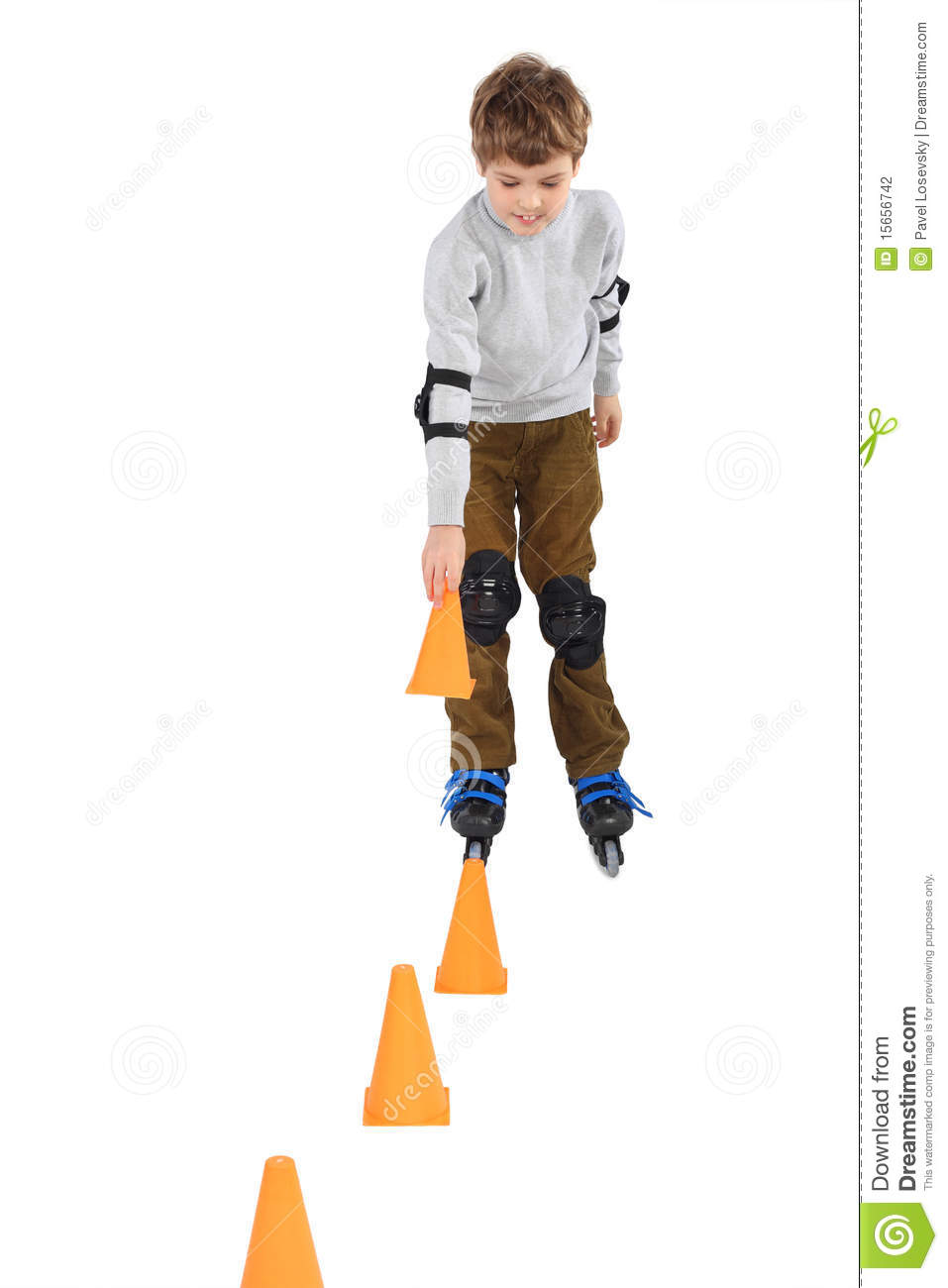 Download Boy With Cone In Hand Rollerblading Near Cones Stock Photo - Image of little, obstacle: 15656742