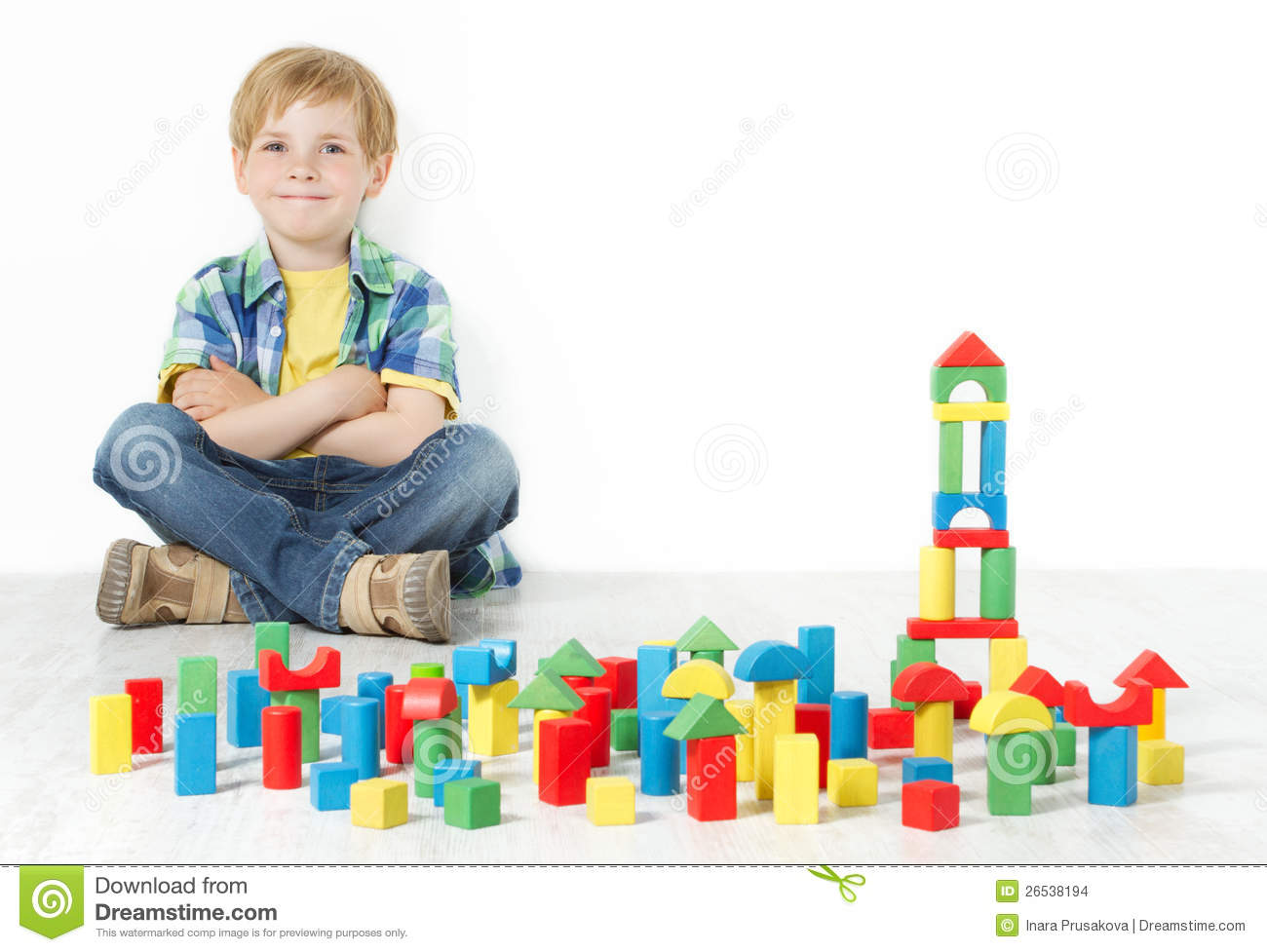 Building Toys For Little Boys : Boy and construction blocks toys stock photo image