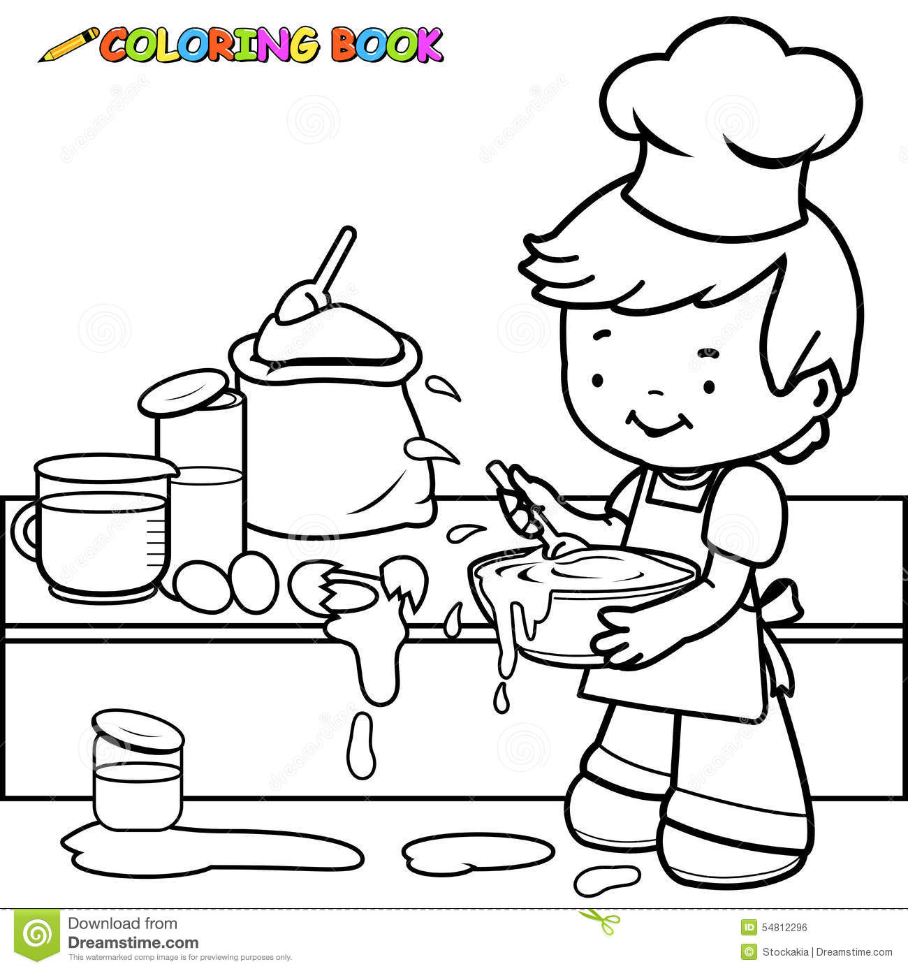 Stock Illustration Boy Cooking Making Mess Coloring Page Vector Illustration Black White Outline Image Little Kitchen Image54812296 on baking cartoon