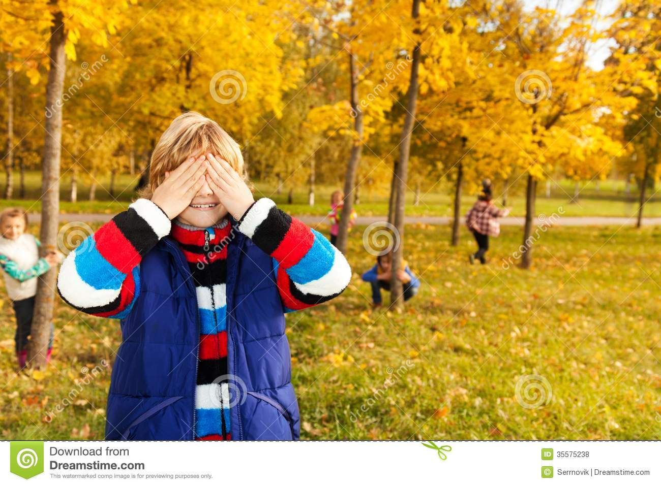 Hide Seek Kids: Boy Counting While Friends Hiding Royalty Free Stock