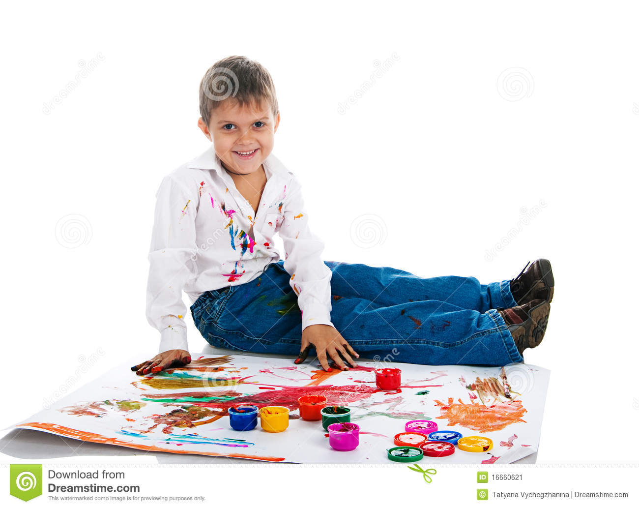 Boy covered in bright paint