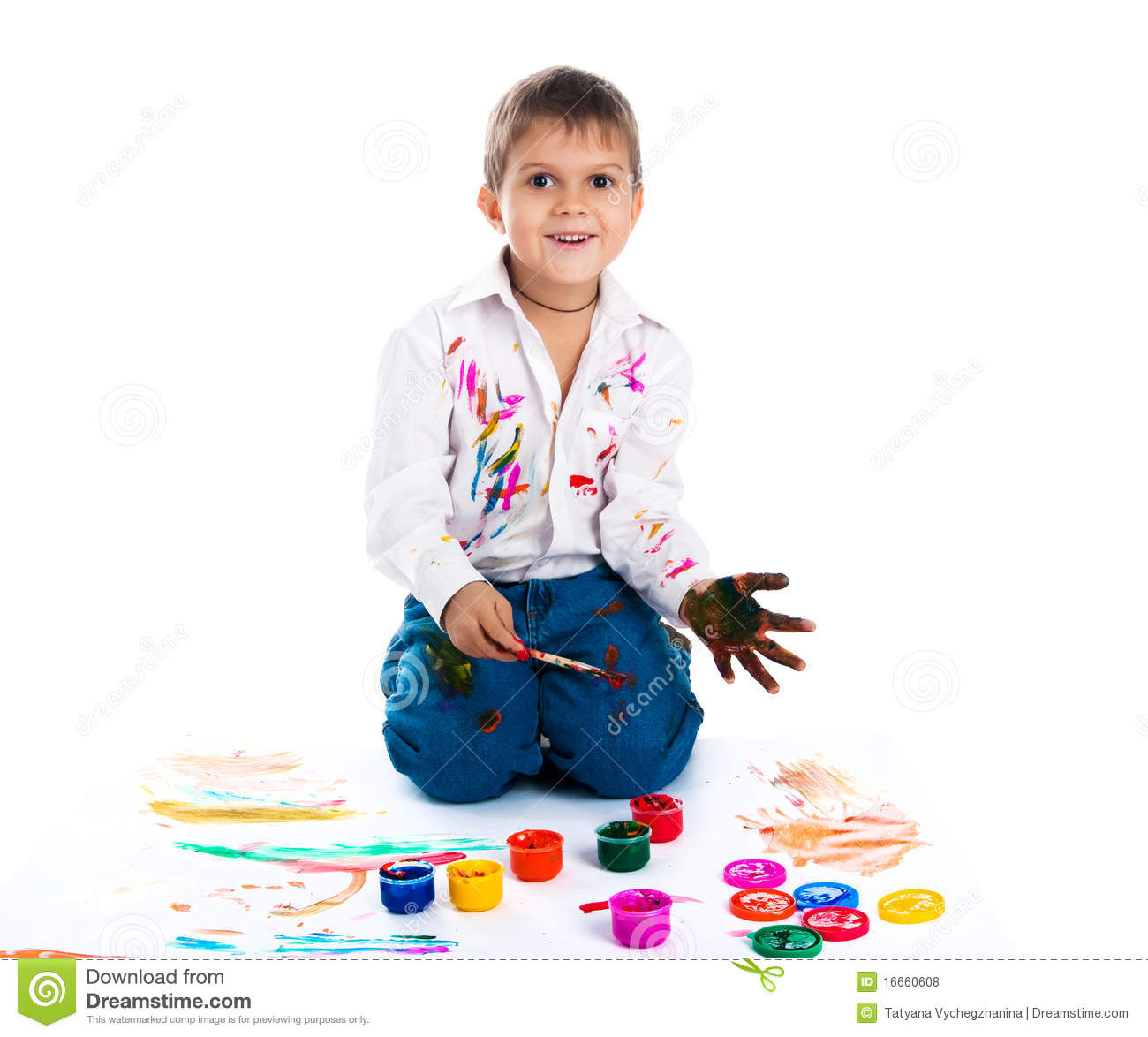 Download Boy covered in paint stock photo. Image of creativity - 16660608