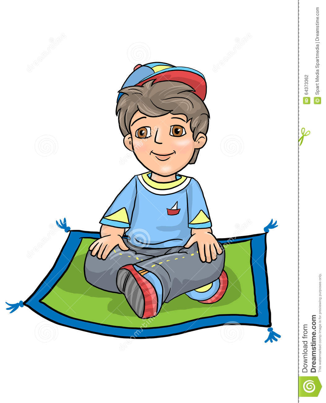 Boy Cross Legged Sitting Stock Illustration - Image: 64373362