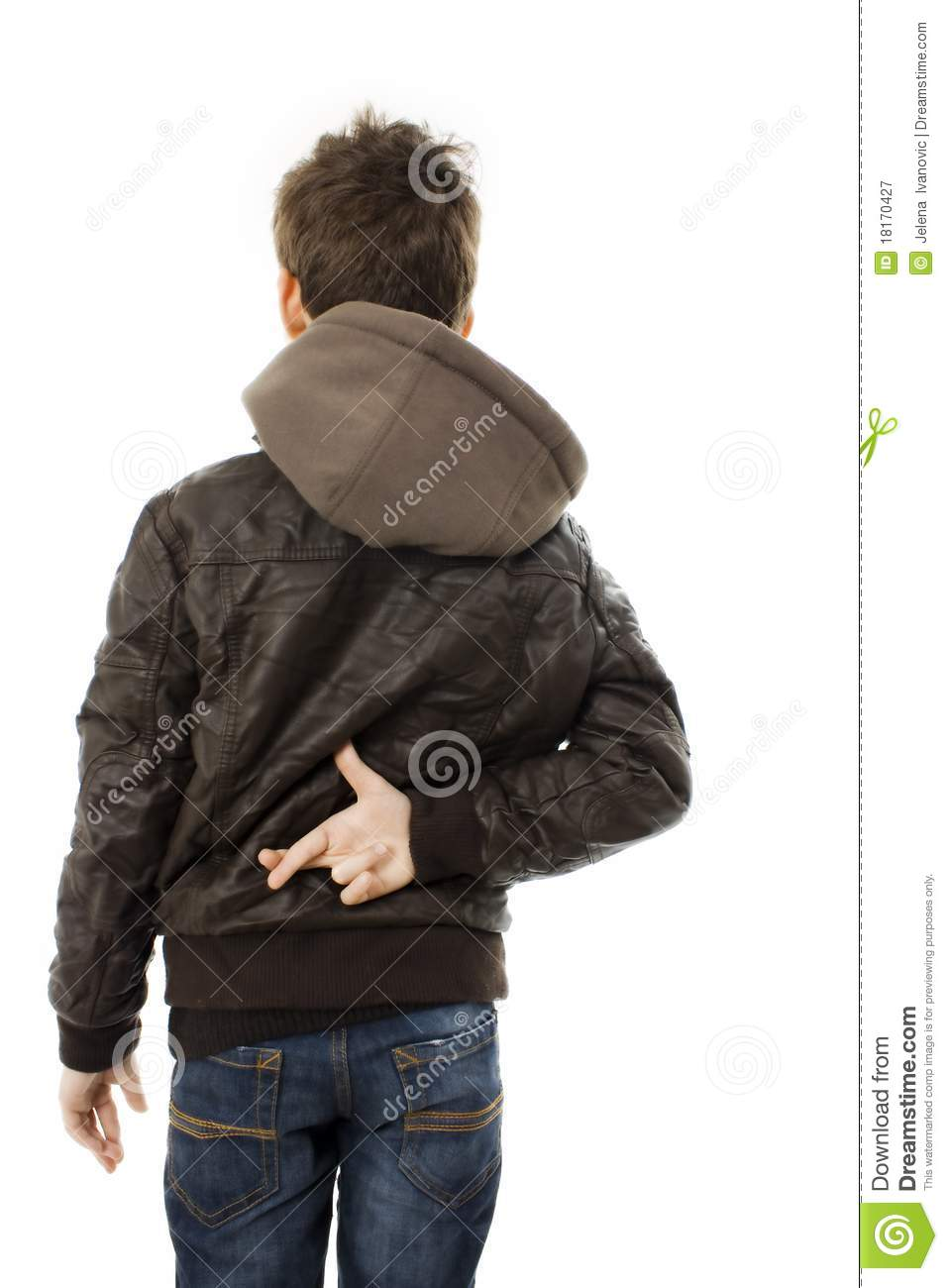 Boy Crossing Fingers Behind Back Royalty Free Stock