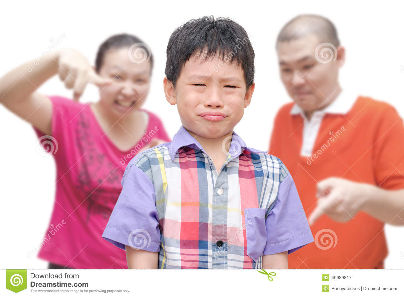 Boy crying while parents scold him