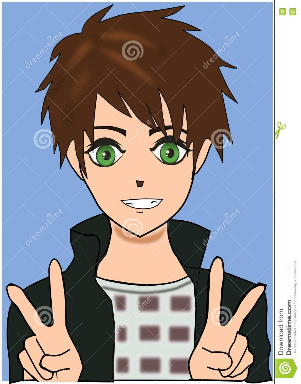 Cute smiling anime boy with beautiful green eyes and peace hand gestures wearing grey jacket on blue background