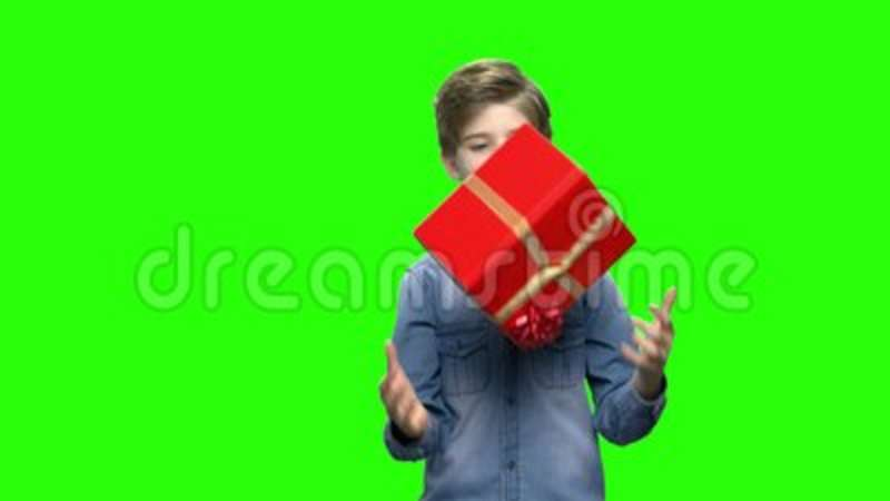 Boy In Denim Jacket With Red Gift Box Stock Footage Video Of