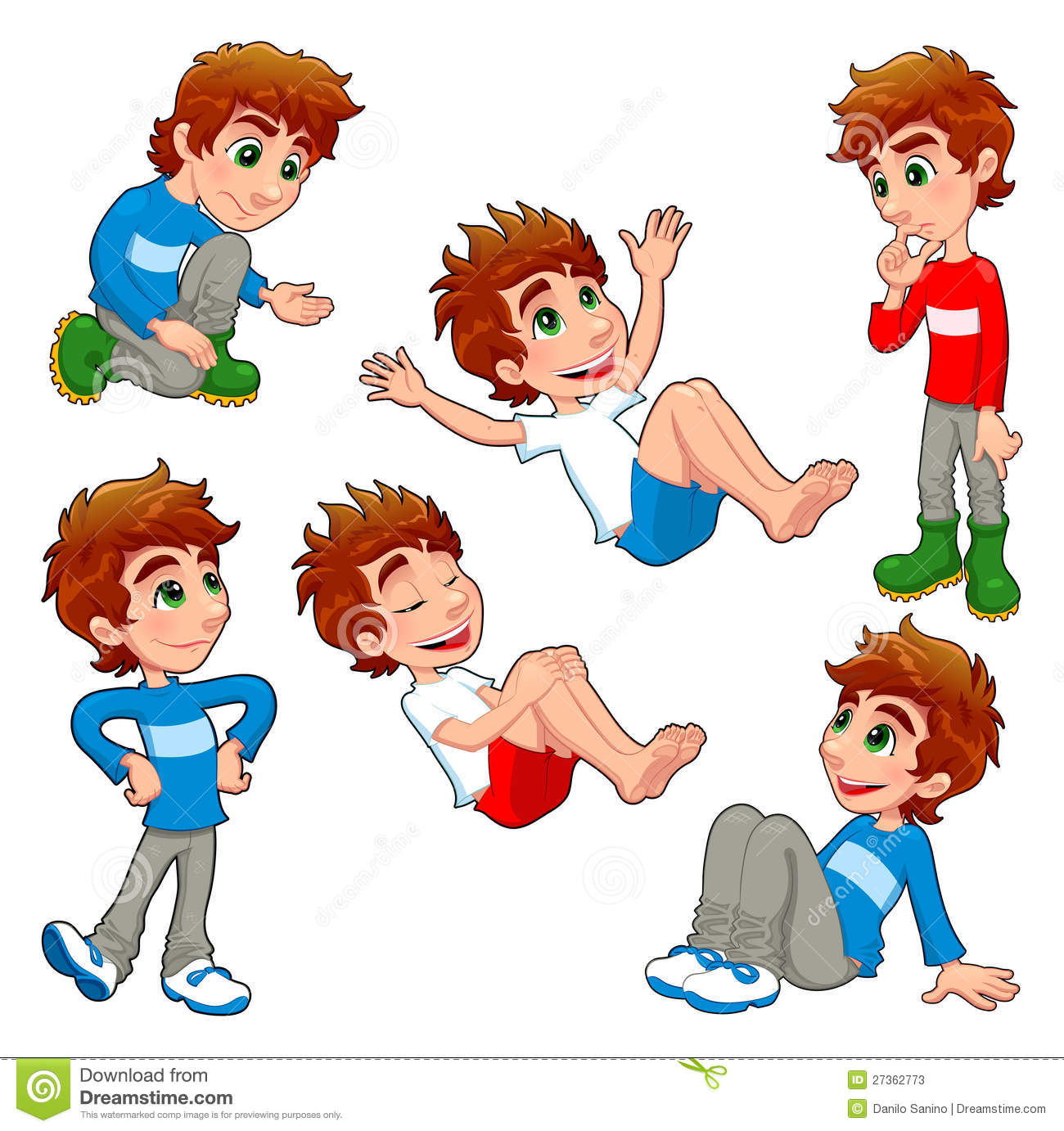 Boy In Different Poses And Expressions Stock Vector