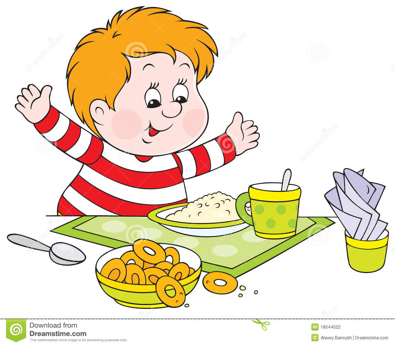 Vector clip-art of a cheerful boy with fat cheeks at the dinner table.