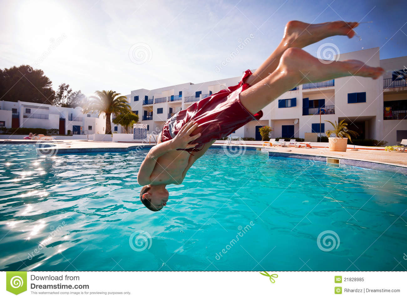 Boy Diving In Swimming Pool Stock Image Image 21828985
