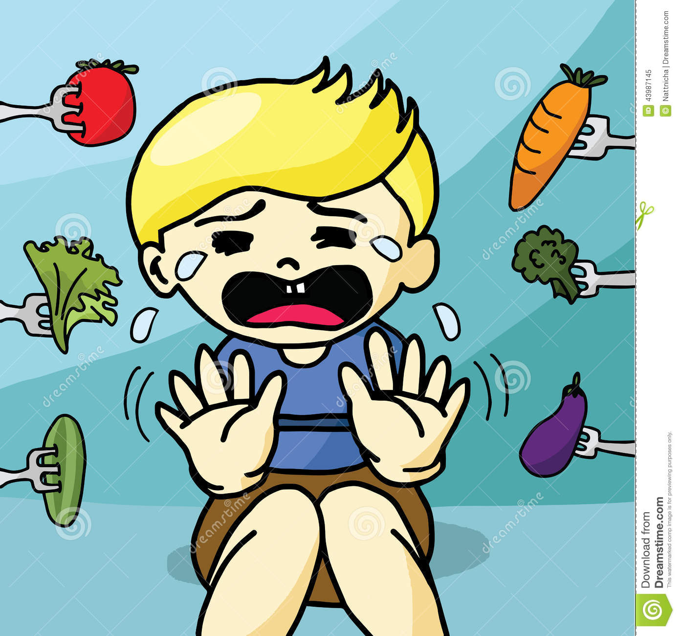 The Boy Does Not Like Healthy Food Stock Vector - Image ...