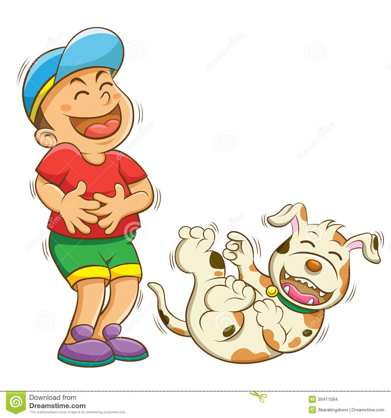 Boy And Dog Laughing Stock Vector - Image: 39411084 - photo#50