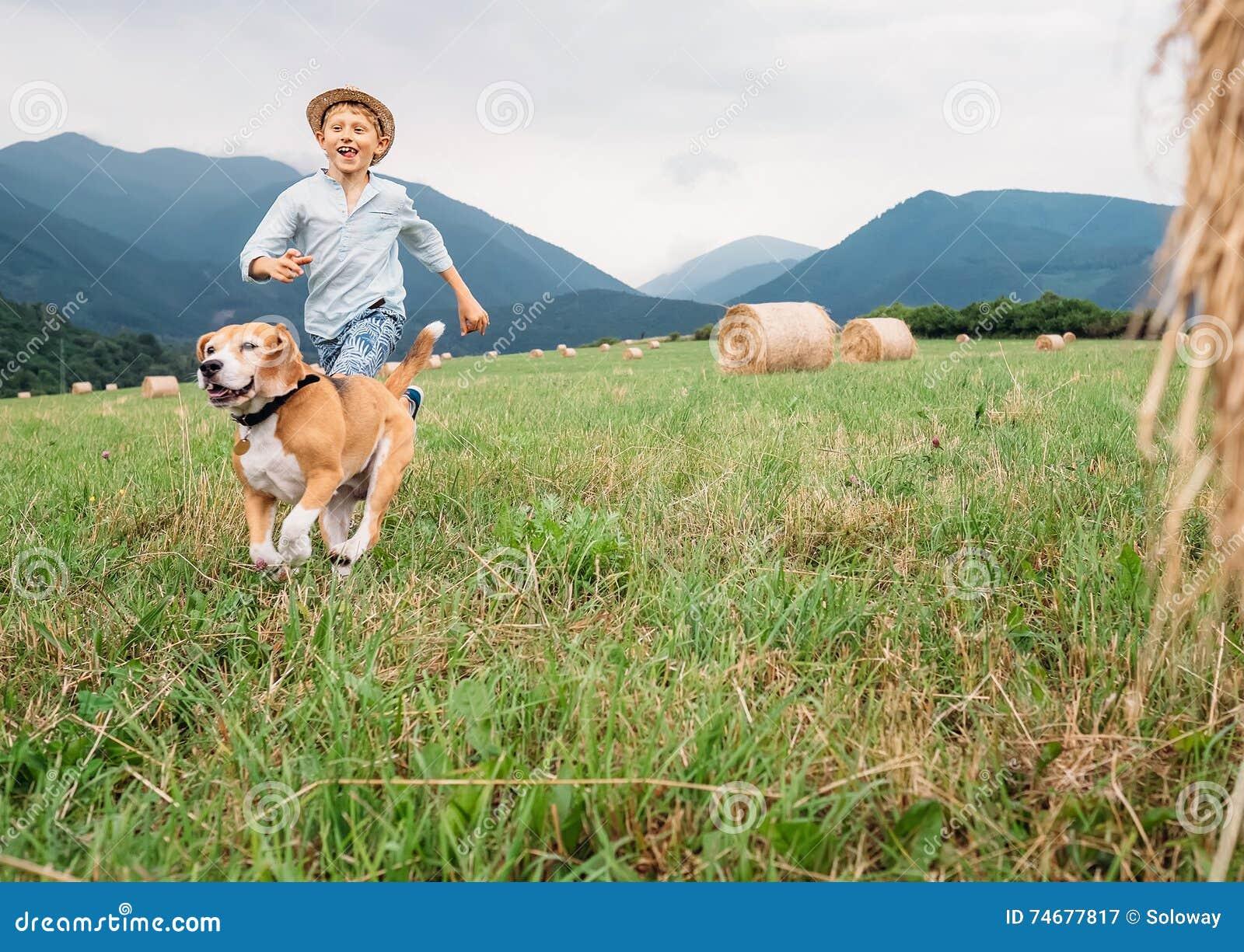boy-dog-run-together-field-haystacks-746