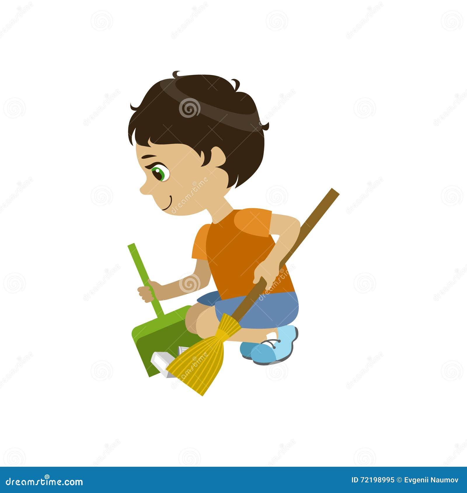 boy doing a garden clean up stock vector illustration of helping design 72198995. Black Bedroom Furniture Sets. Home Design Ideas