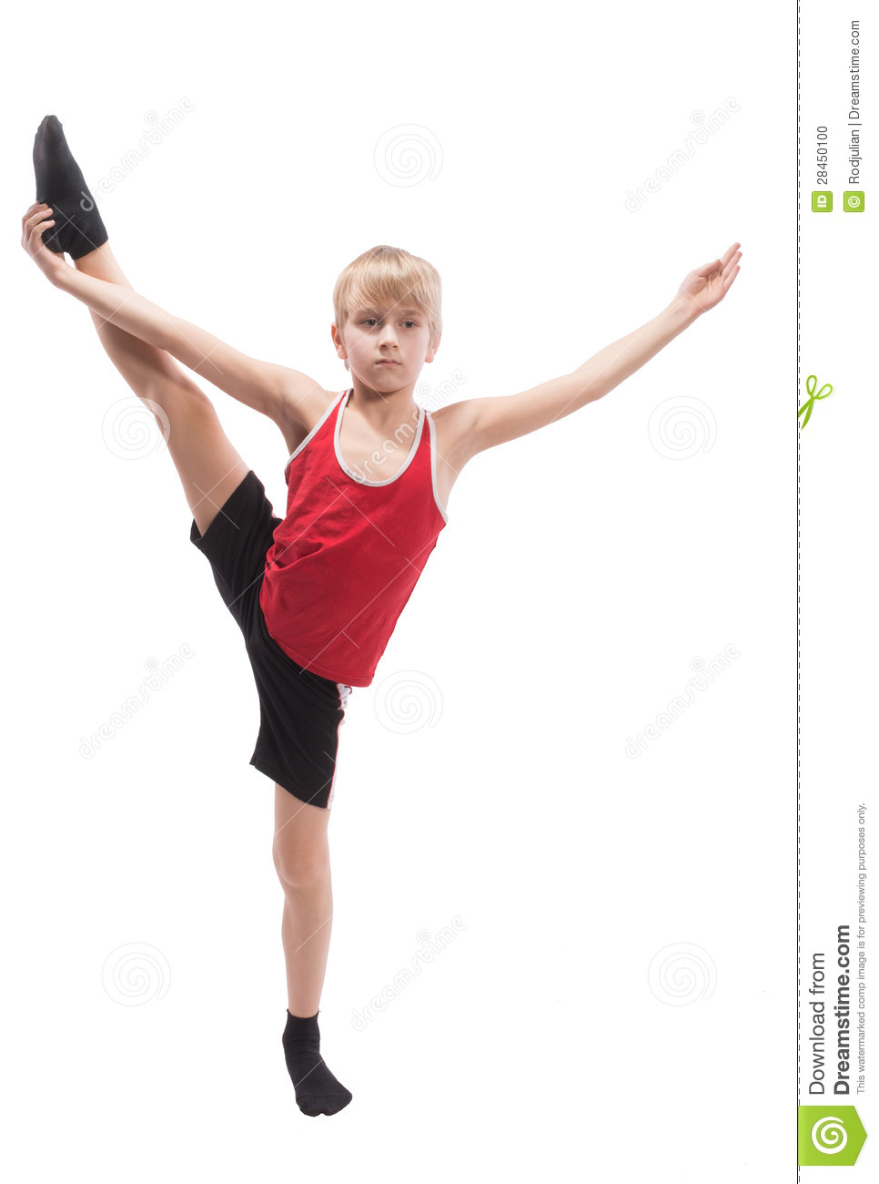 Ten-year-old boy doing vertical splits, on white background.