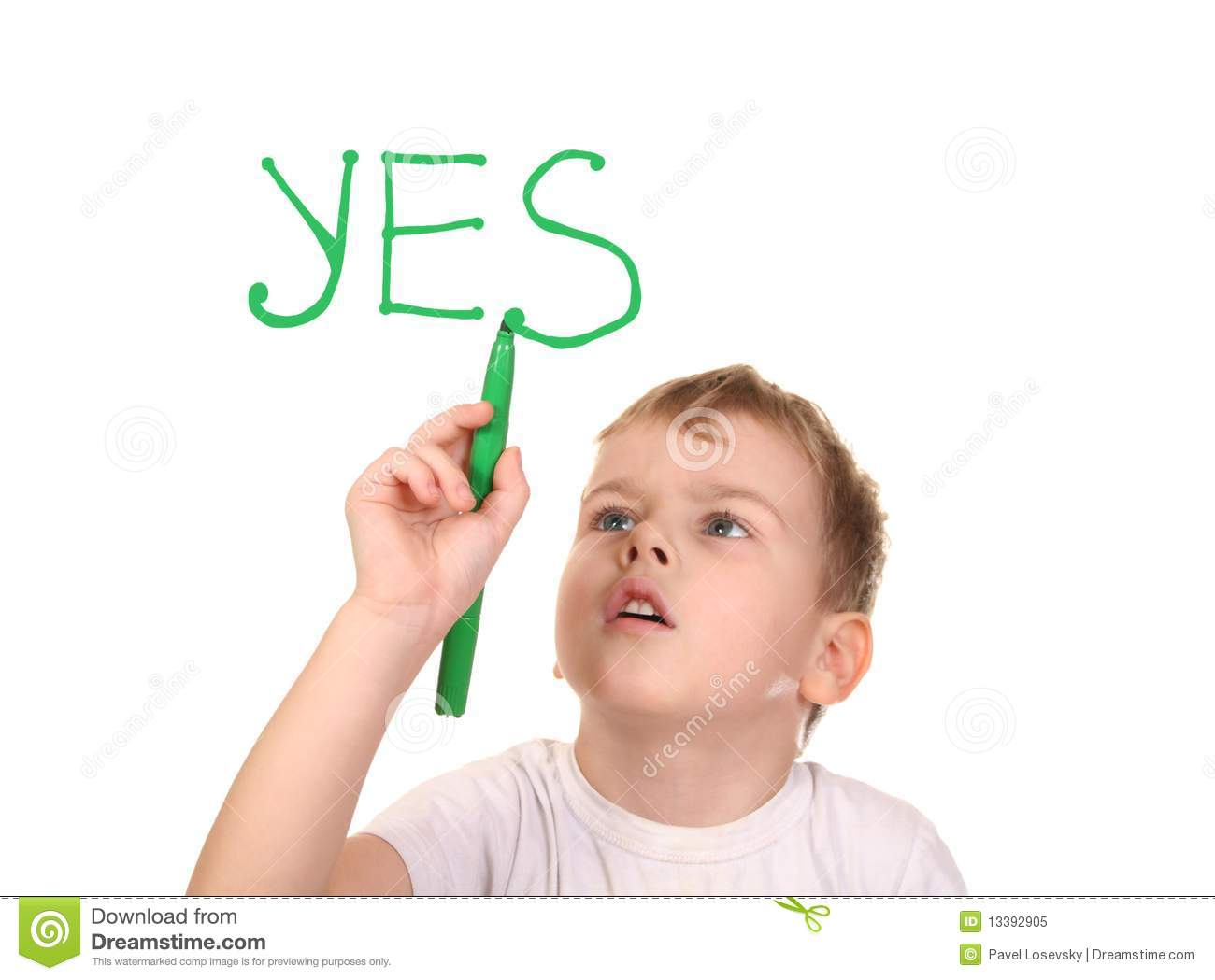 Boy Drawing Word Yes By Felt Tip Pen Collage Stock Image Image Of