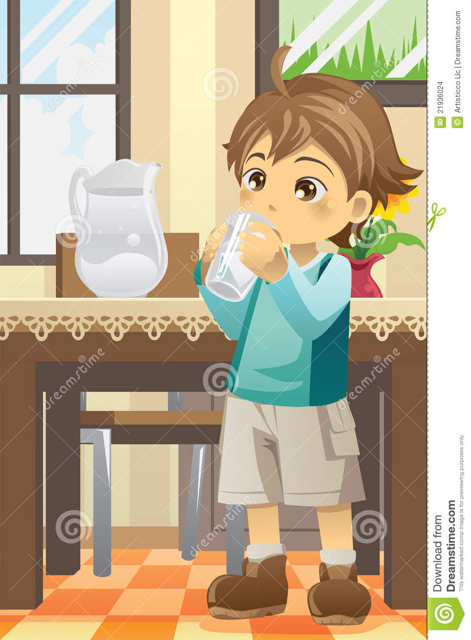 boy drinking water stock vector. illustration of lifestyle - 21936024