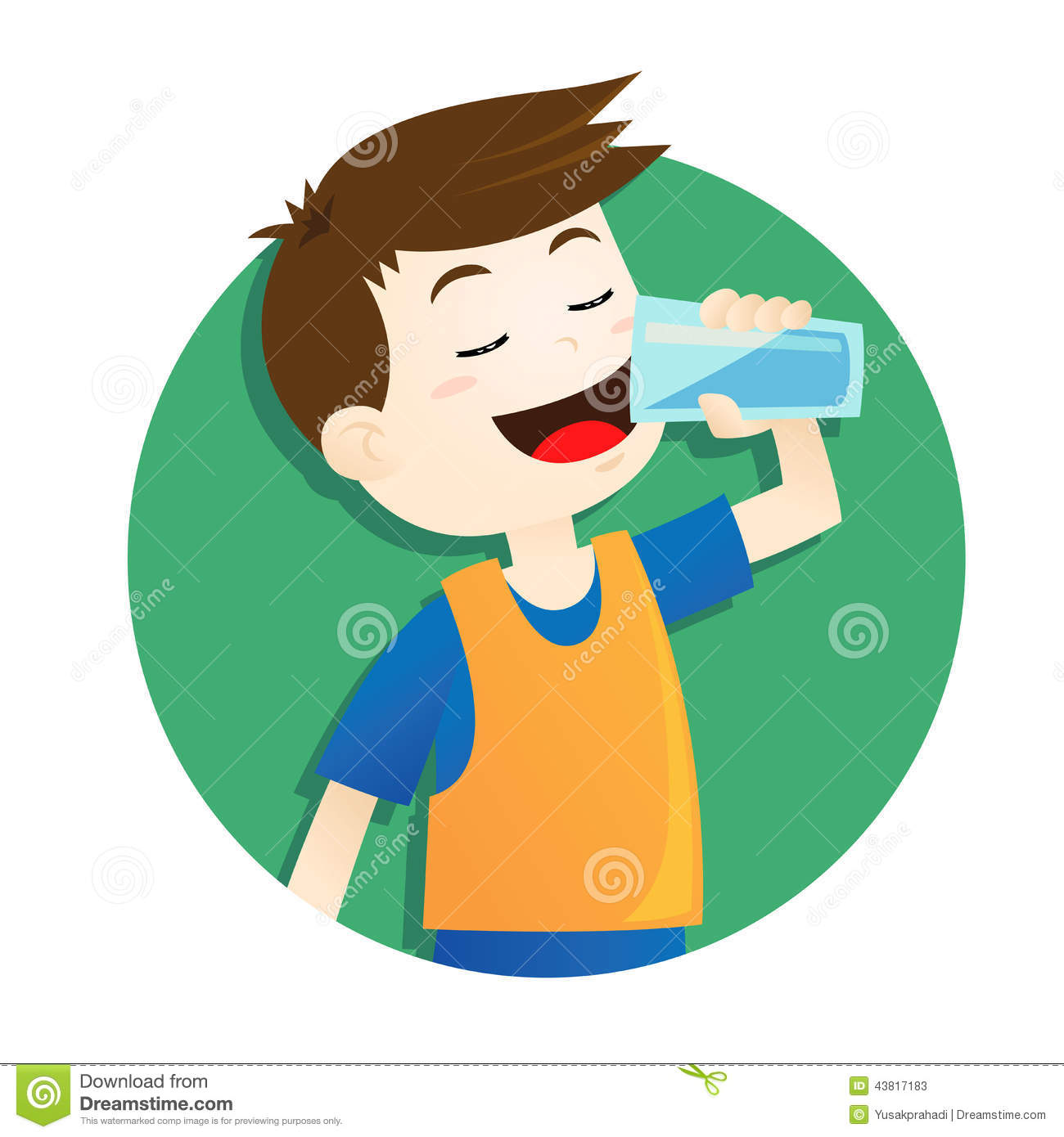 boy drinking water stock vector. illustration of holding - 43817183