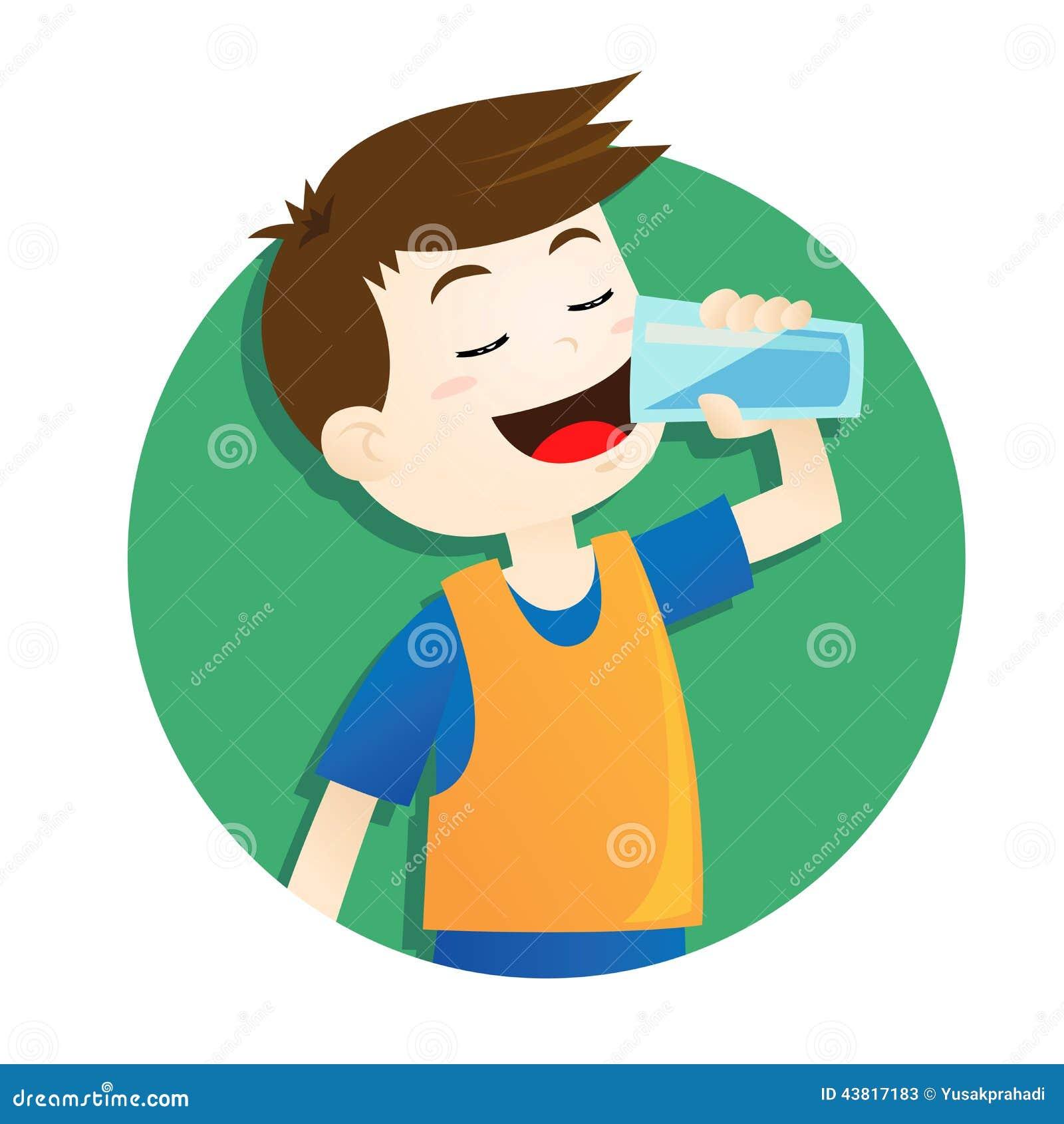 Child Drinking Water Cartoon