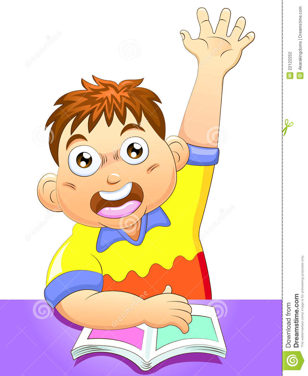 Boy Eager To Answer A Question Stock Vector