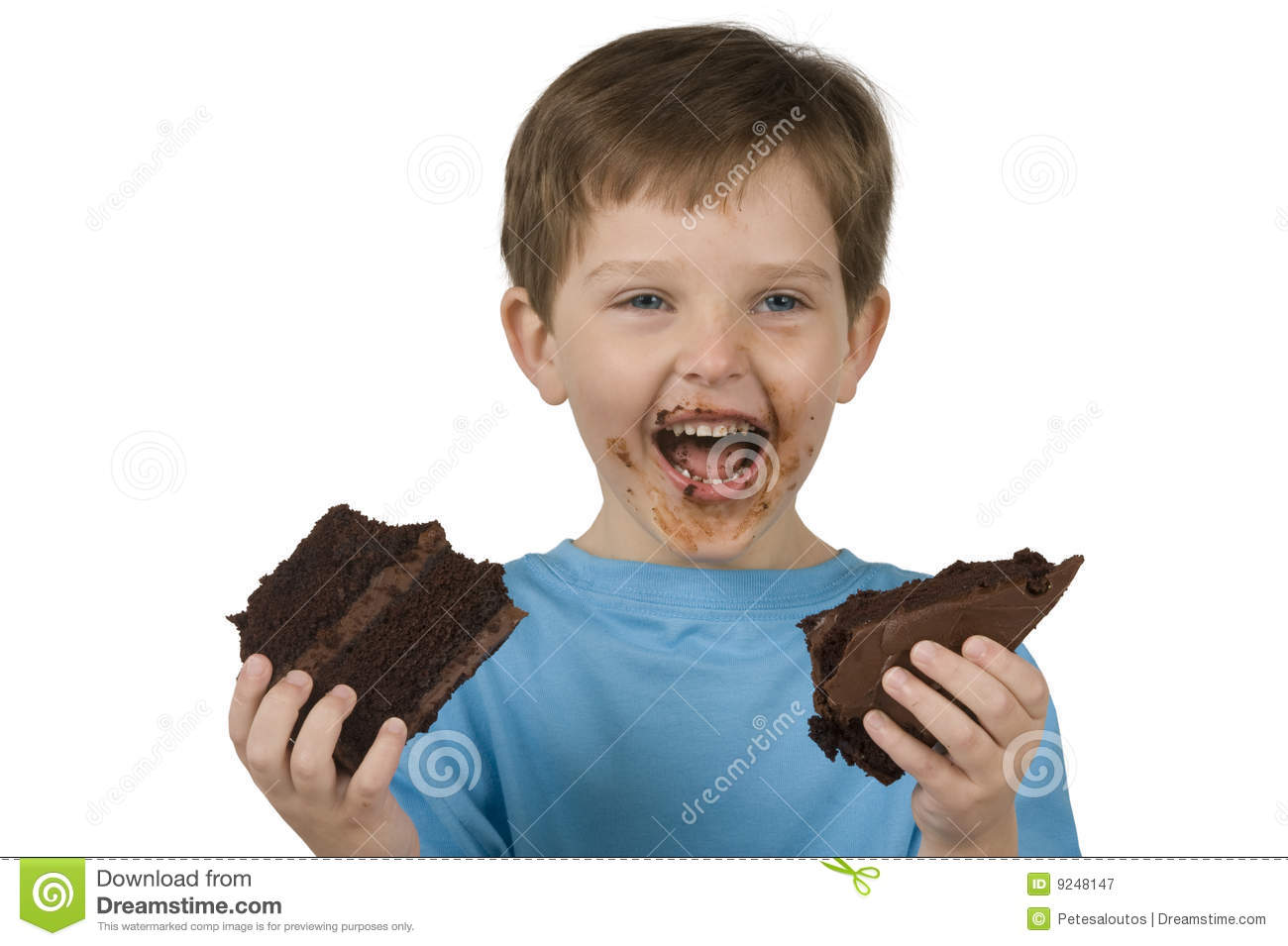 Boy Eating Cake Stock Image Image Of Blue Frosting Mess