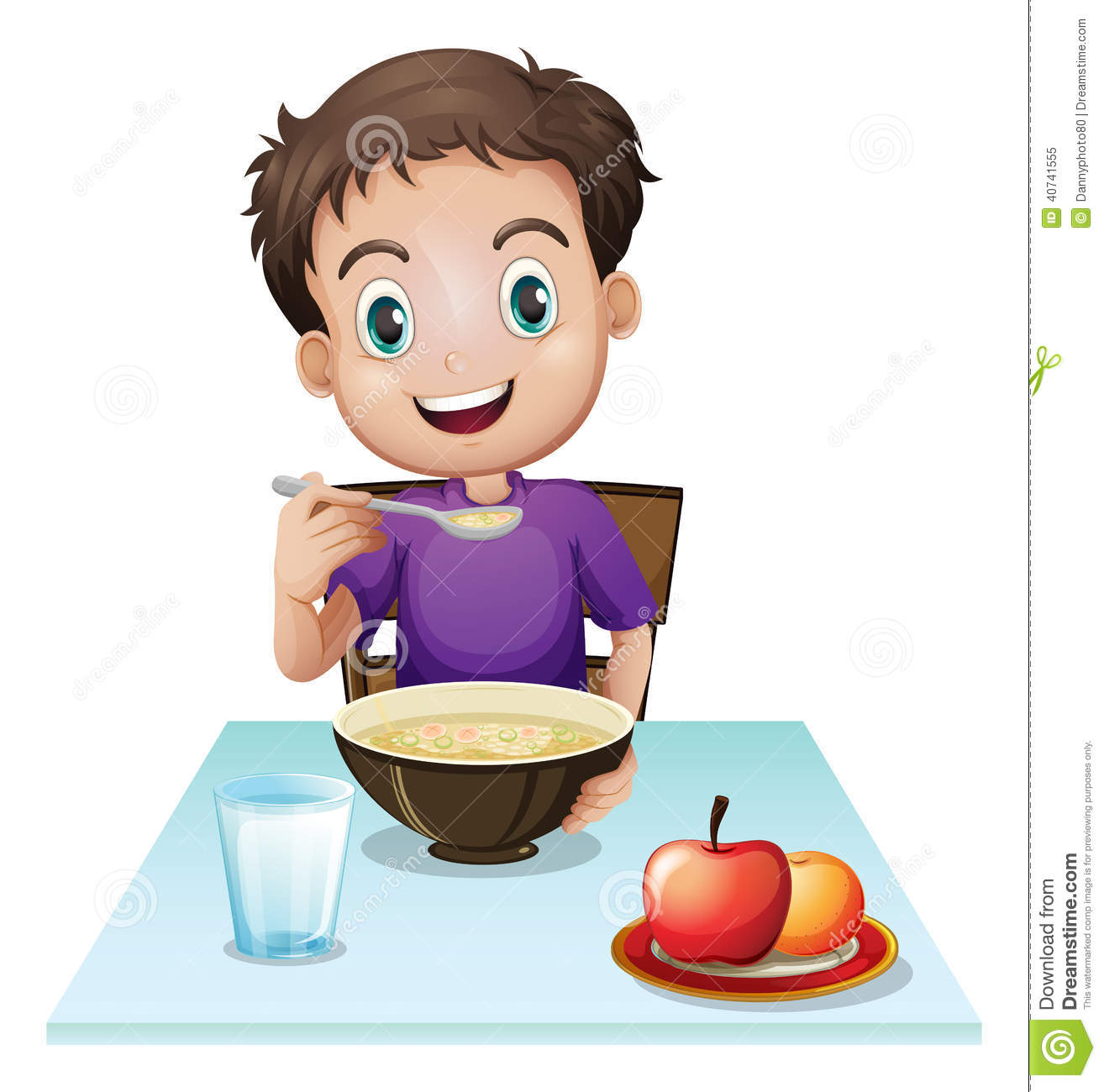Image Of Good Morning With Hindi Qu: A Boy Eating His Breakfast At The Table Stock Vector
