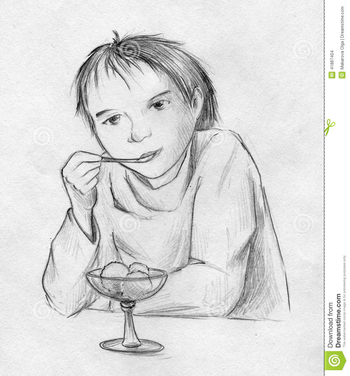 Boy Eating Ice Cream Stock Illustration. Image Of Paper - 41887404