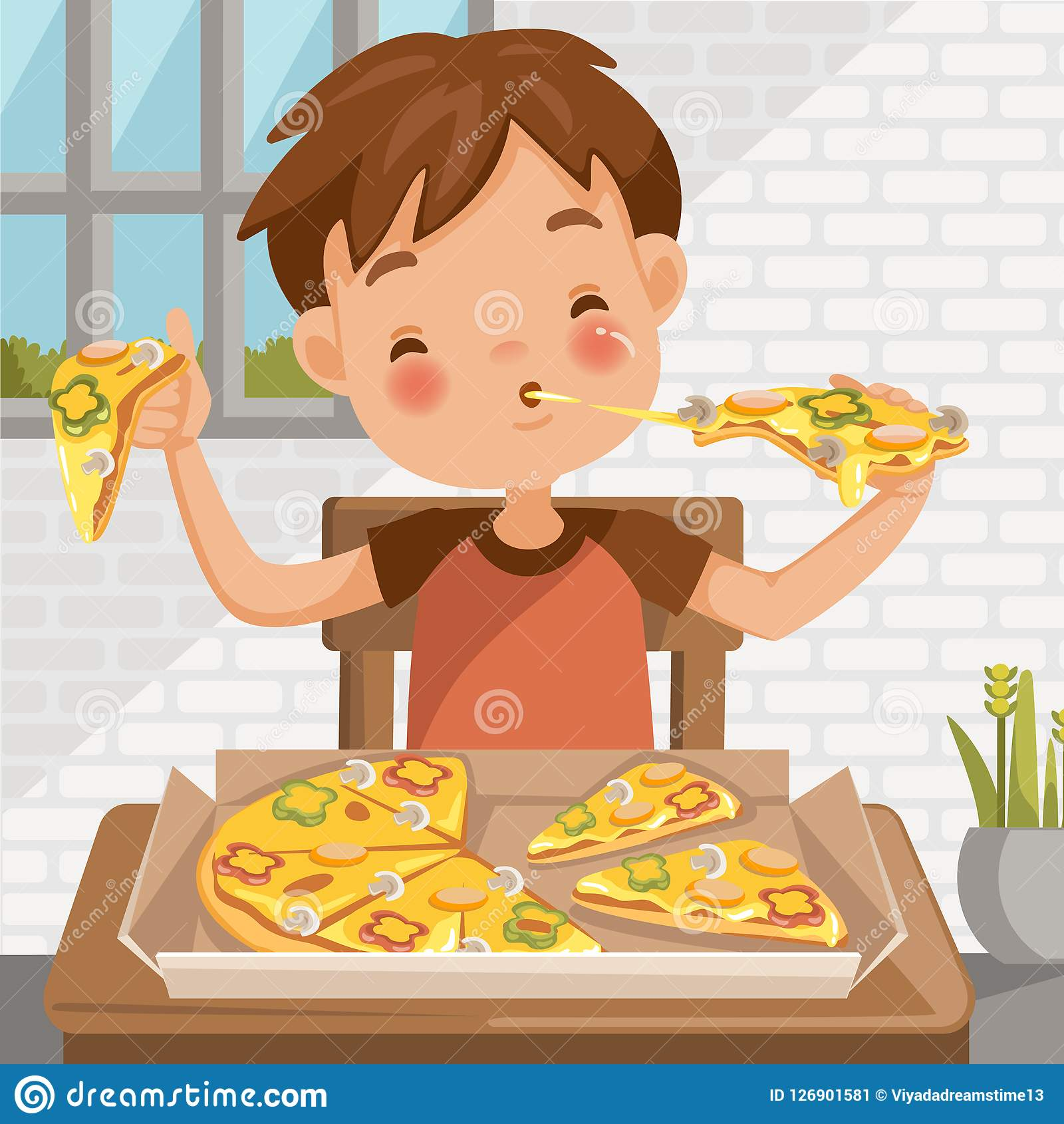Boy Eating Pizza Stock Illustration. Illustration Of