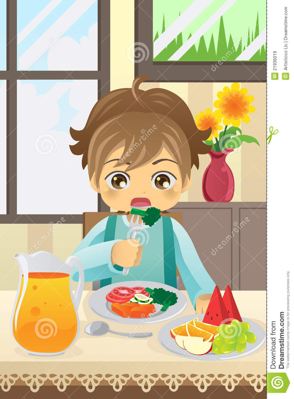 Dining Room Drawing: Boy Eating Vegetables Royalty Free Stock Images