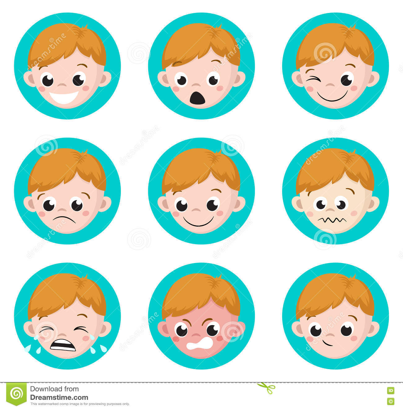 boy emotion faces cartoon set of male avatar expressions stock