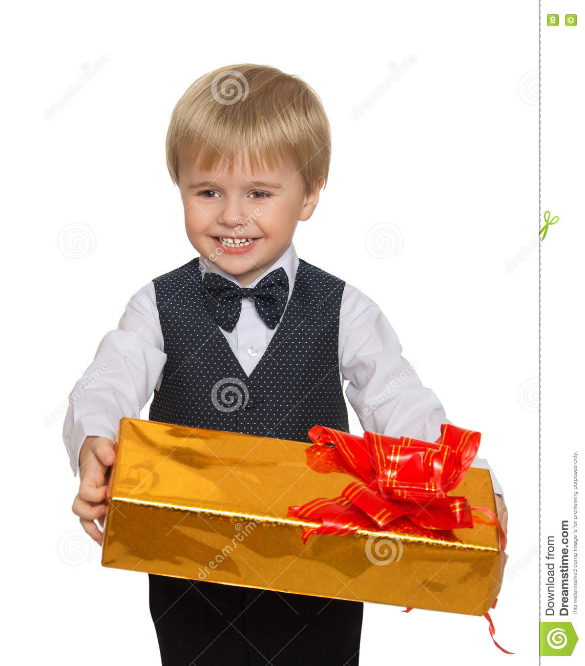 ad975ea16e17 Cute little blonde boy in suit with bow tie holds in his hands the box.  close-up - Isolated on white background