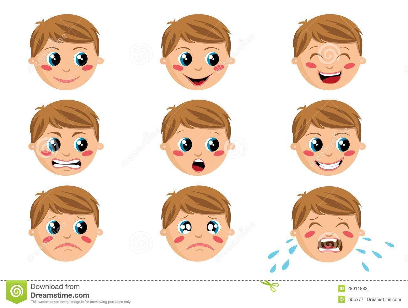 Nine face expressions of a funny cartoon boy isolated on white ...