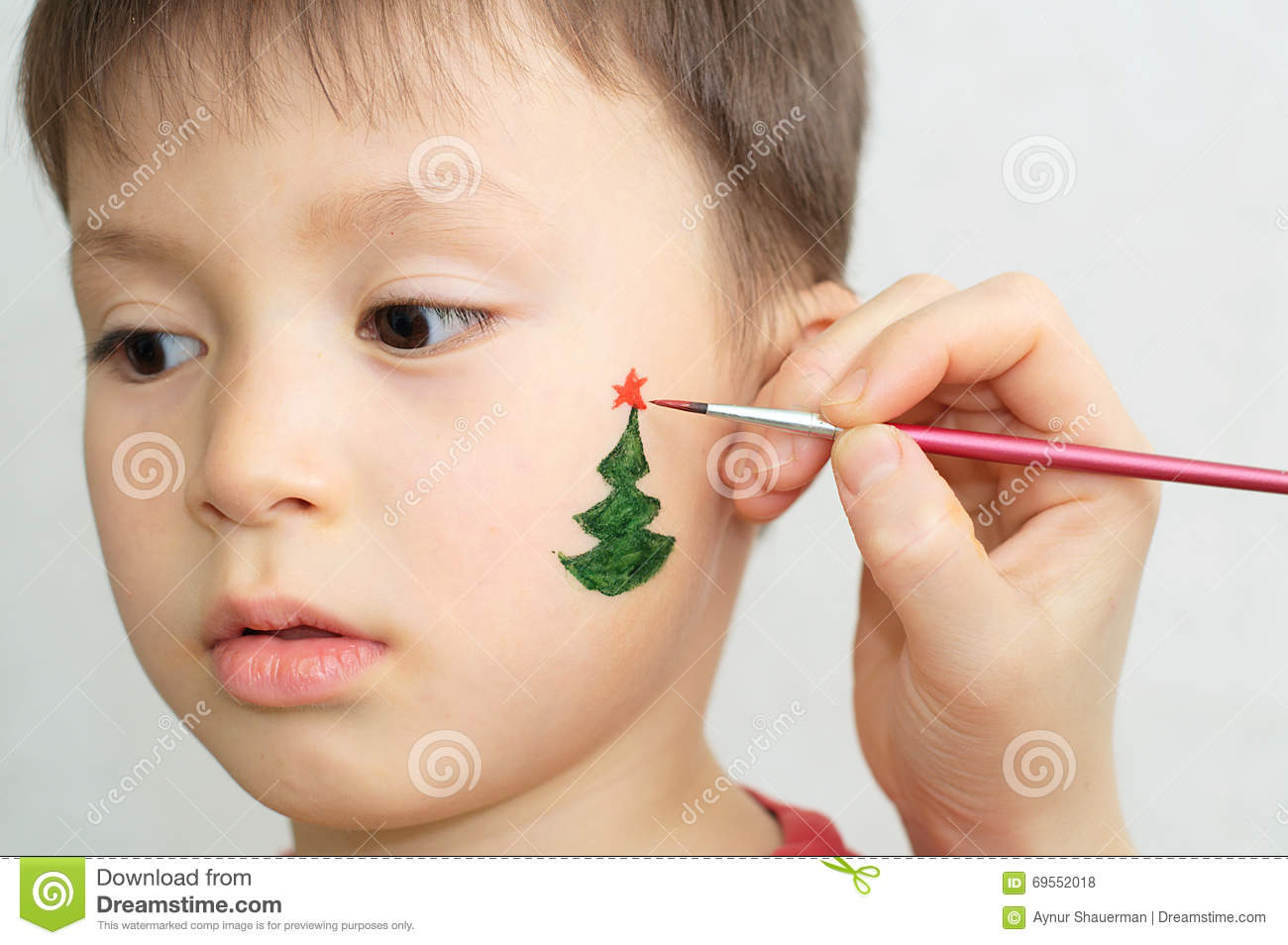 Christmas Face Paint.Boy Face Painting For Christmas Party Stock Photo Image Of