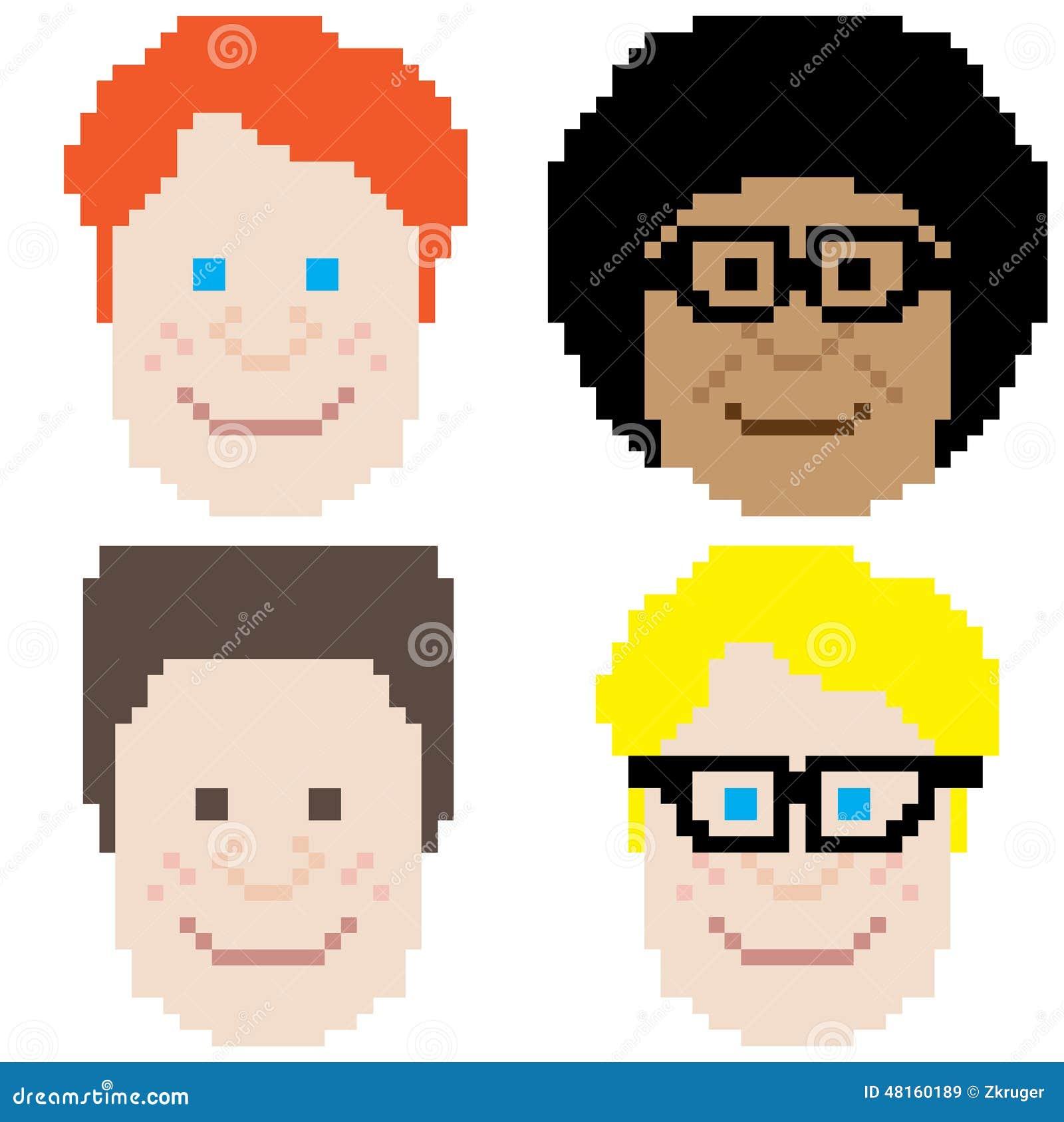 Boy Face Pixel Art Stock Vector