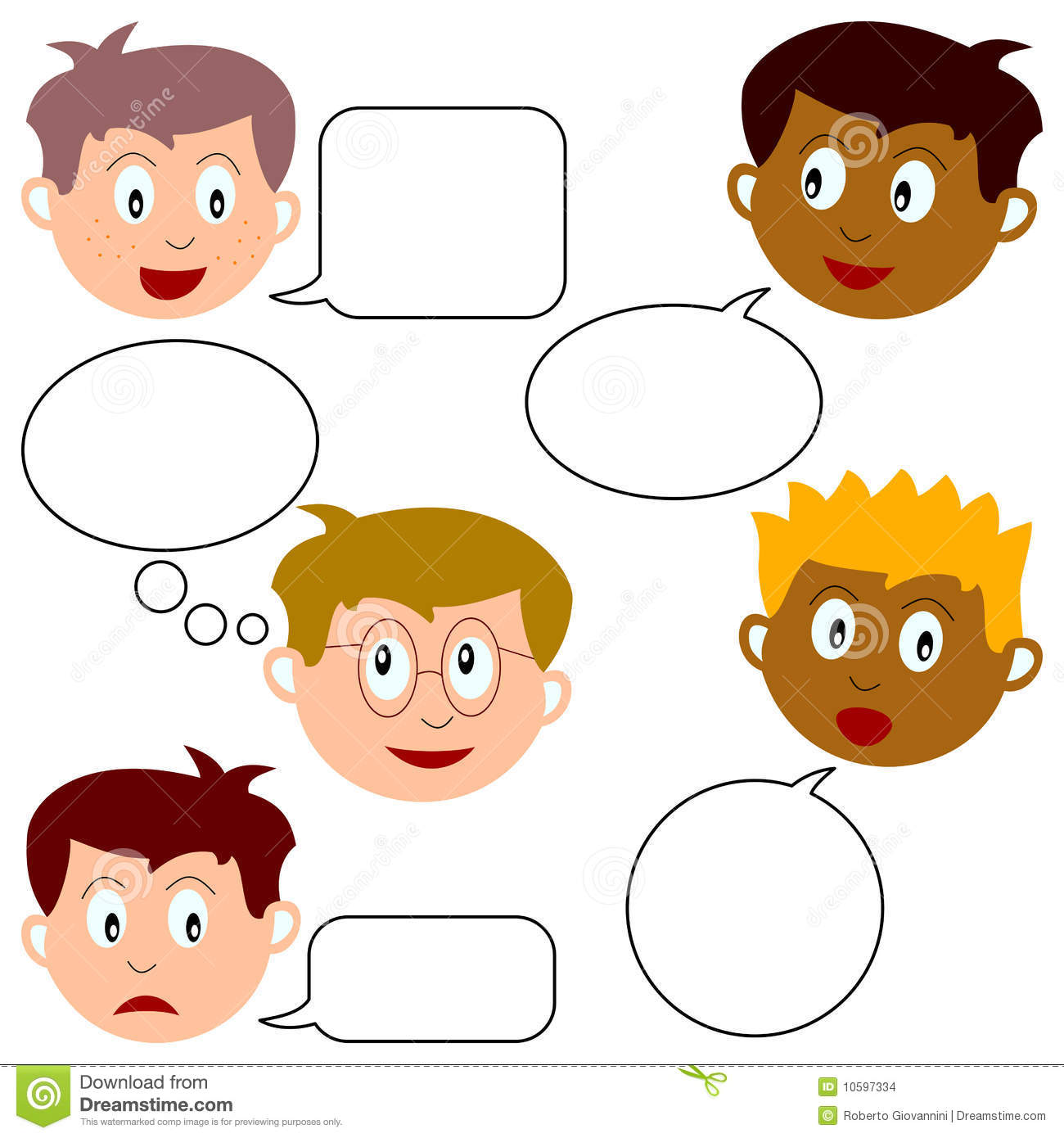 Boy Faces With Speech Bubbles Stock Vector Illustration